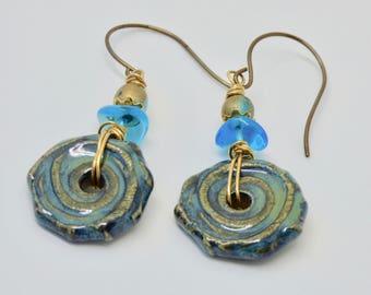 Handmade Blue Earrings, Rustic Boho Earrings, Textured Ceramic Geometric Dangles, Geometric Jewelry, Turquoise Blue Jewelry Gift Under 25