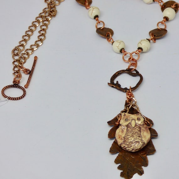 Copper Owl on a Branch Pendant