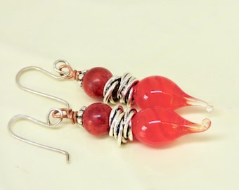 Modern Red Earrings, Red and Silver Earrings, Red Lampwork Earrings, Red Lampwork Jewelry, Statement Earrings, Birthday Gift for Her