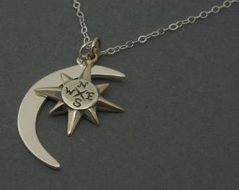 Crescent Moon Pendant, North Star Compass Necklace - Sterling Silver, August Celestial necklace, Journey Necklace, True North Nautical, Gift