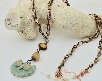 Boho Owl Pendant, Owl Necklace, Bird Necklace, Rustic Ceramic Art Bird Necklace, Earthy Bird Jewelry, Casual Necklace, Gift for Bird Lover