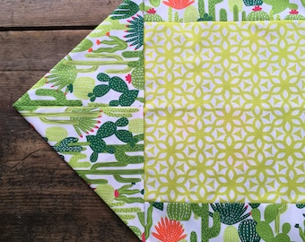 Cactus Tablecloth Table Runner Mexican Southwest Green White Orange Reversible