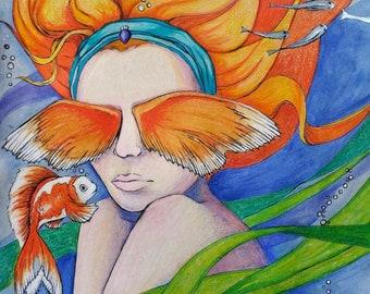 Mermaid Giclee Print - Fish Ocean Life - Secrets