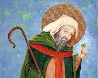 St. Patrick Art Print-Ireland-Shamrock Icon St. Patricks Day Art 8 X 10