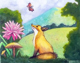 Fox and Butterfly - Wildlife Art Print Children's Illustration