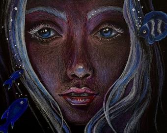 Mermaid Fish Ocean Life Giclee Print - Light in the Darkness