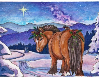 Equine Art Print - Peace On Earth Good Will to Ponies - Purple and Blue Galaxy Scene