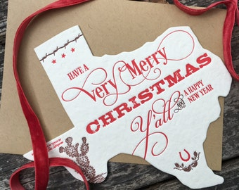 Texas Holiday greeting Card - Letterpress