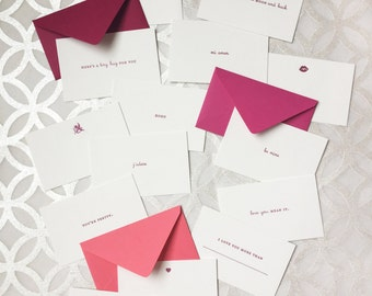 Tiny Love Note // Love Emoticards // Set of 15 different letterpress messages with tiny envelope