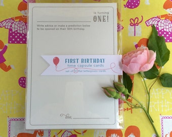 1st birthday time capsule cards