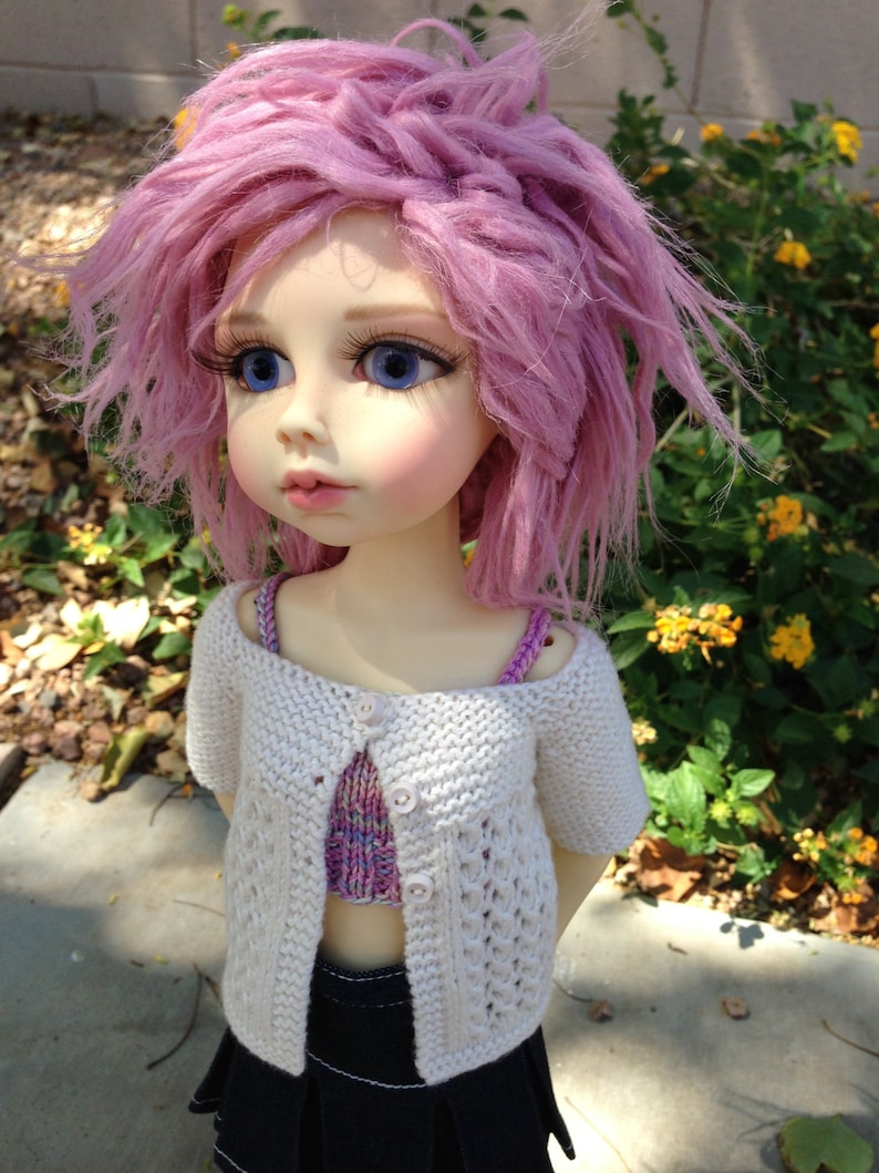 PATTERN to Knit Lace Cardigan for MSD Dolls image 0