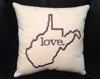 WEST VIRGINIA - Embroidered Pillow