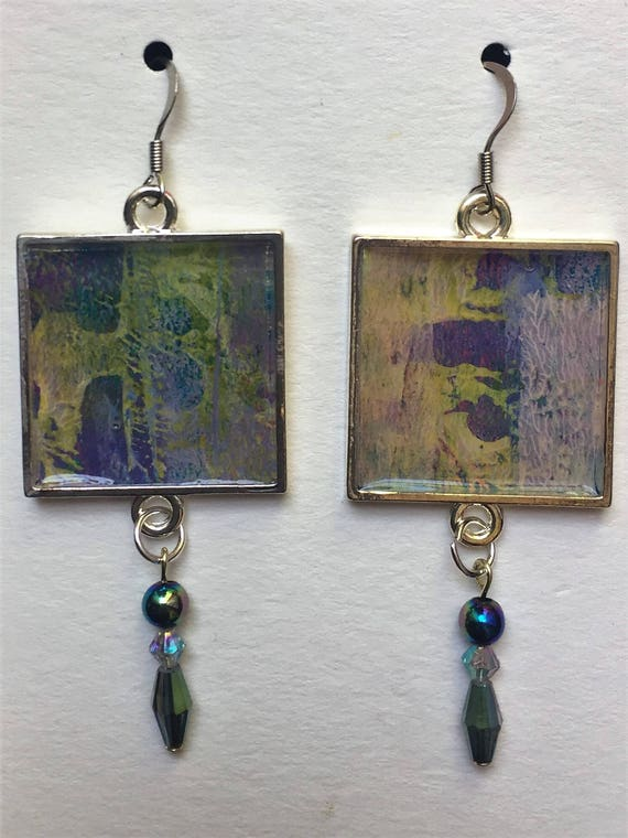 Abstract Painting Earrings Beads Crystals Art FREE SHIPPING Handmade Art Jewelry Boho Gift Statement Earrings One of a Kind