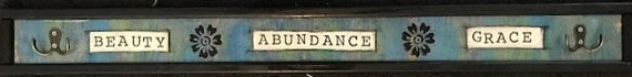 Handmade Sign Coat Hanger Hat Hanger Rack Grace Beauty Abundance Whimsical Wall Decor