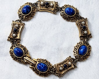 Vintage Victorian Revival Link Bracelet by ART has Blue Art Glass Stones It Measures 7 14 Inches. Tiny Blue Stones D42 and Faux Pearls