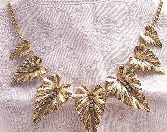 Vintage Leaf with Rhinestone Dew Drops Necklace Choker J20