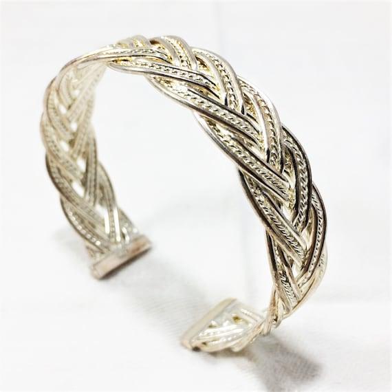 Sterling Silver Braided Wire Cuff Bracelet Handmade 7.25 inch