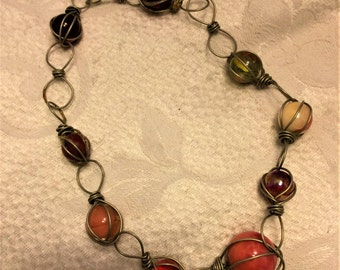 Vintage Kitschy 17 Inch Handmade Choker Necklace Made of Marbles and Twisted Wire. Most of the Marbles Have Shades of Red. Fun Necklace. D6