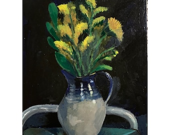 Mustard Flowers in Vessel, original acrylic painting on canvas board, still life painting , art, home decor