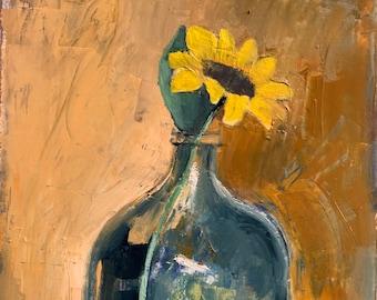 Sunflower, original oil painting on cotton paper, home decor , modern art