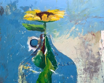 Gallon Jug with sunflower, original oil painting on cotton rag paper