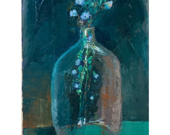 Glass jug with flowers, original oil painting on bfk rives , home decor, modern art