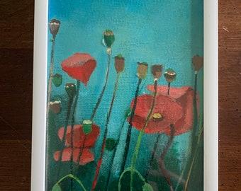 Poppies, original acrylic painting on canvas panel, home decor