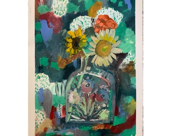 Sunflower vase with flowers, original oil painting on paper, abstract floral painting, home decor, wall art