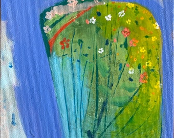 terrarium with mini flowers, original acrylic painting on canvas board,