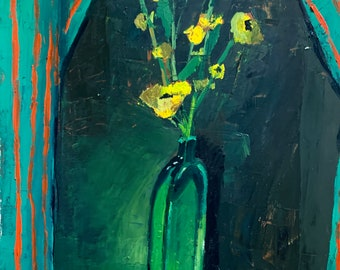Dramatic buttercups in a green glass, oil on bfk
