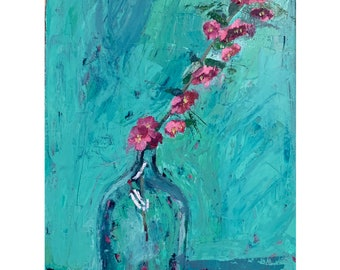 Crabapple branch in a jug, original oil painting on cotton rag paper