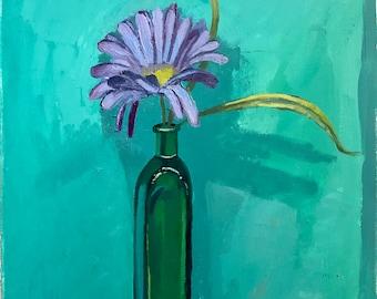 Purple flower in green vase, original oil painting on cotton paper, home decor, art, artwork,