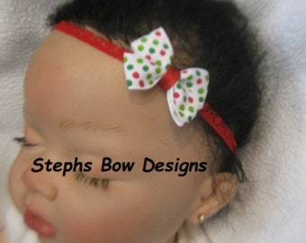 Sparky Red Green Monogram Dainty Baby Hair Bow Headband Personalized Christmas