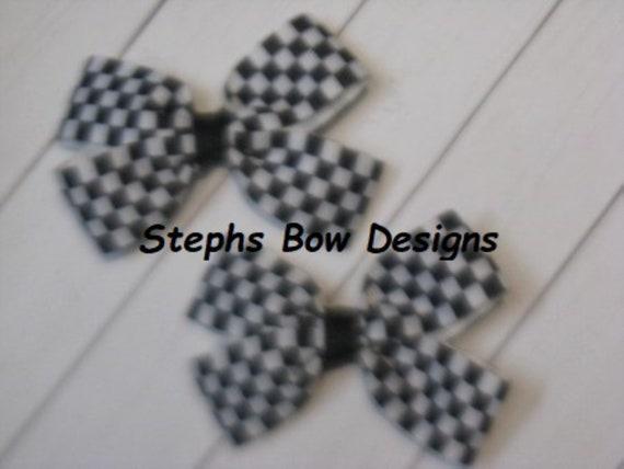 Lot 2 Black /& White Checkered Flag Nascar Dainty Pigtail Hair Bows Set Baby