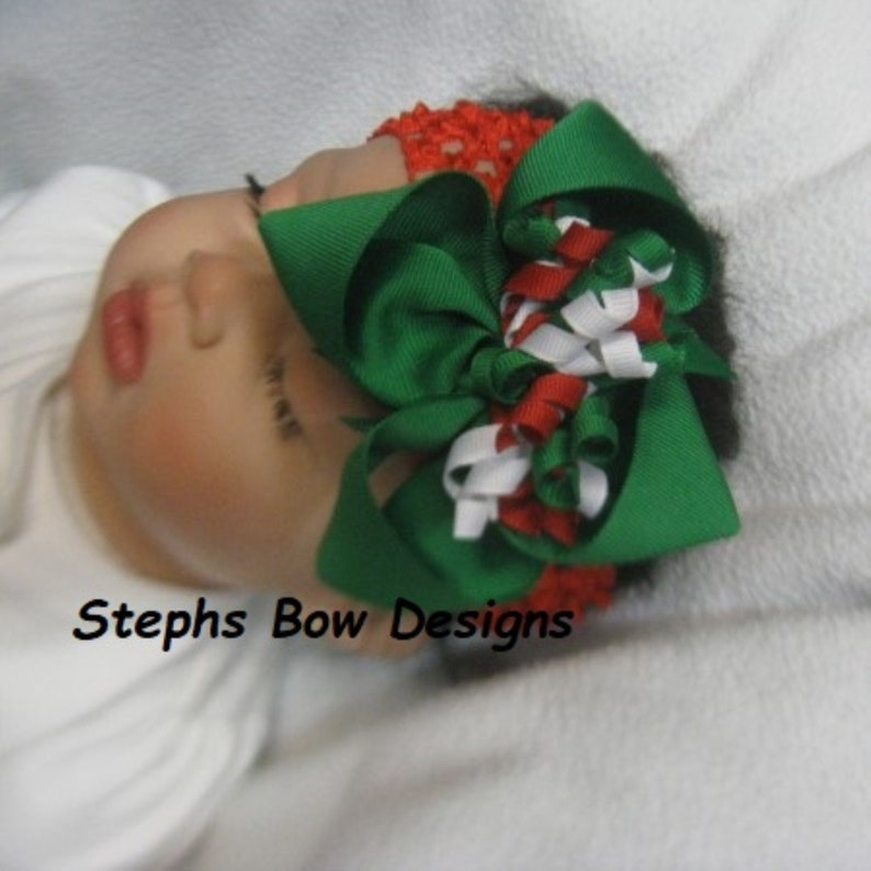 Big 4 Christmas Red Green /& White Boutique Korker Hair Bow Headband fits Newborn Toddler Baby Cute for Holiday Outfits