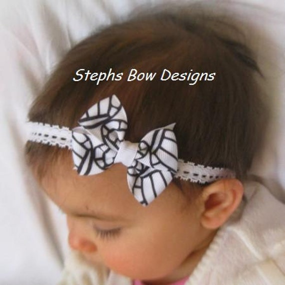 Green White Shamrocks Dainty Hair Bow Headband 4 Preemie Newborn Baby St Patrick