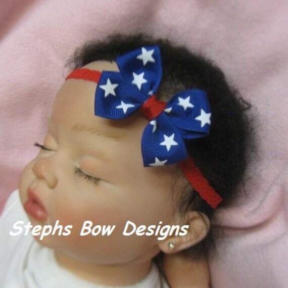 Red White Blue USA Flag Dainty Hair Bow Lace Headband 4 Preemie Newborn Toddler