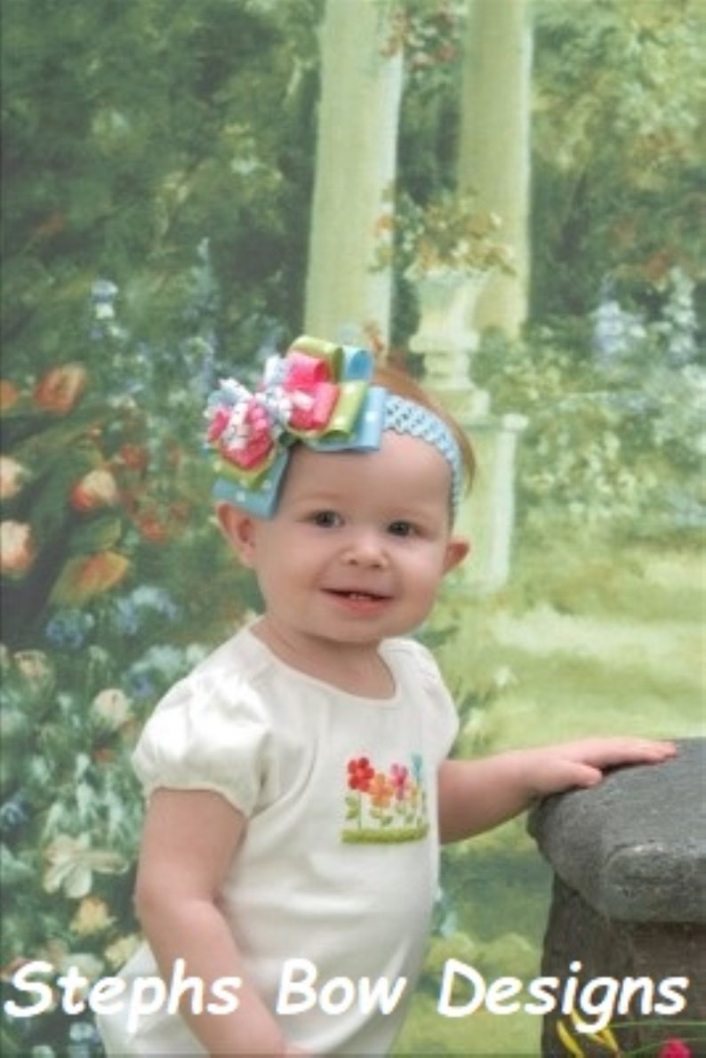 So Cute Apple Green /& Blue w White Polka Dots Layered Korker Hair Bow Headband Hot Pink