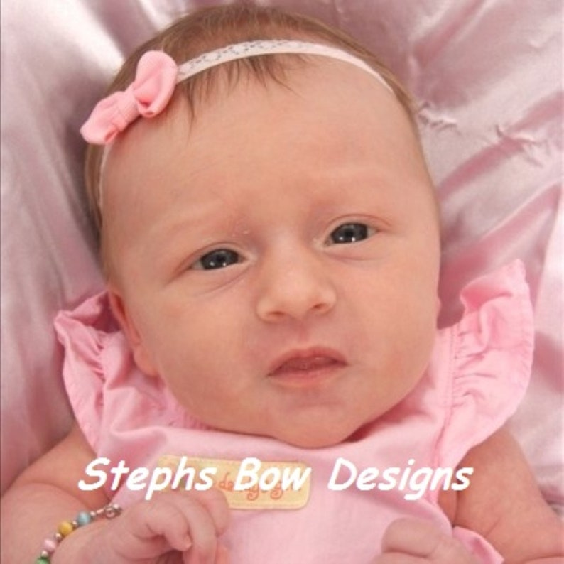 Itty Bitty Tiny 1 Soft Pink Light Pink Dainty Hair Bow Lace Headband fits Newborn Preemie Infant