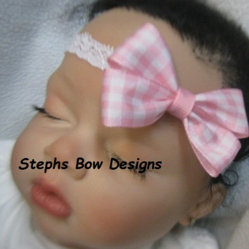 Adorable Pink /& white Gingham Dainty Hair Bow White Lace Headband Newborn Preemie Toddler Baby Hairbow Easter Spring ReBorn Doll So Cute On