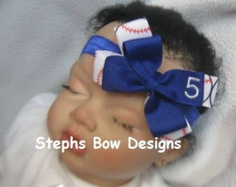 CUSTOM # Baseball Made to Match Your Favorite Team Colors Dainty Layered Hair Bow Headband Baby Hairbow So Cute  MLB Fan U Pick Personalized
