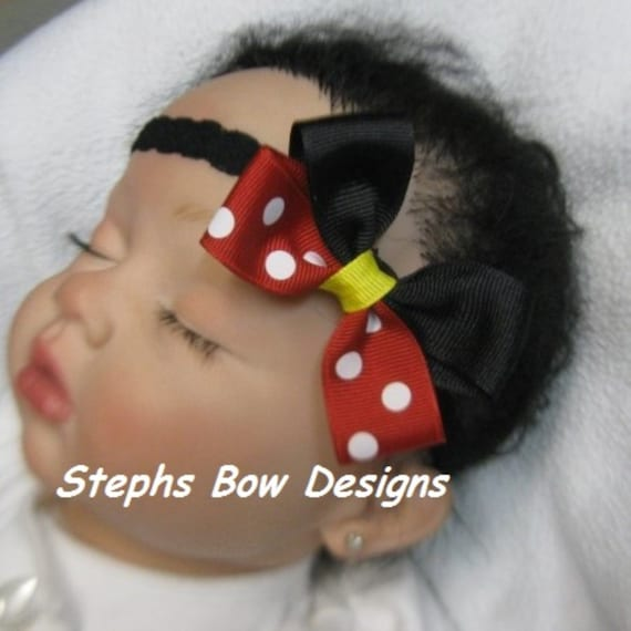 and Girl Toddler Mickey Newborn Gift Disney world Elastic Headband for Baby Mickey Mouse Red Flower Black Polkadot Headband