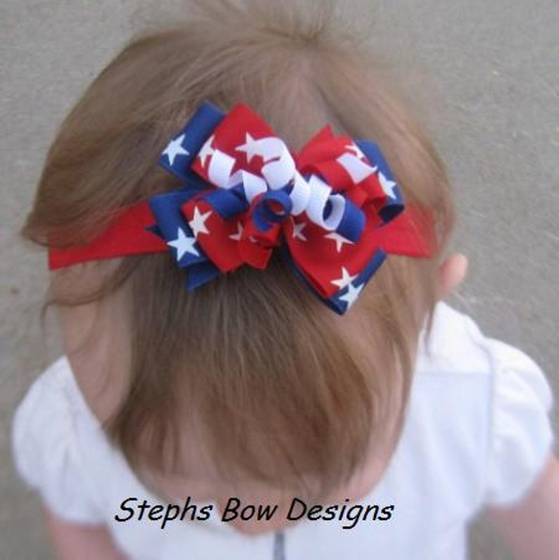 Red White /& Blue Stars July 4th Dainty Layered Korker Curlies Hair Bow Headband Patriotic Baby Hairbow ReBorn Doll So Cute for 4th of July