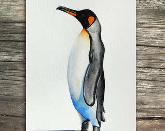 Original Painting: King Penguin | Watercolor SciArt by Cyntada Painting Birds Nature Color Outdoors