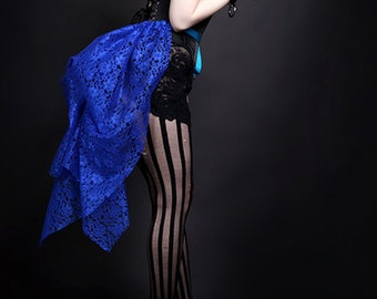 Short Royal Blue Lace Mid Length Bustle Wrap Festival Rave pin up MTCoffinz - All Adult Sizes