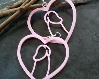Penis Heart Hoop Body Positive Anatomy Dick oversized statement Earrings 3D printed Lightweight Free Shipping MTcoffinz