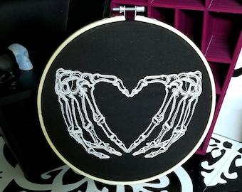 Skeletons Hands Heart 8 inch Embroidery Hoop Art Bones Morbid Witch  Curiosity Gothic Wicca Mtcoffinz