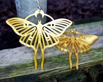 Luna Moth Moon oversized statement Earrings 3D printed Lightweight Free Shipping MTcoffinz