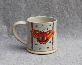 Stoneware Moth Mug Cream Glaze