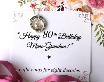 80th BIRTHDAY Gift For Mom Grandma Birthday Necklace Sterling Silver 8 Rings Decades Connected